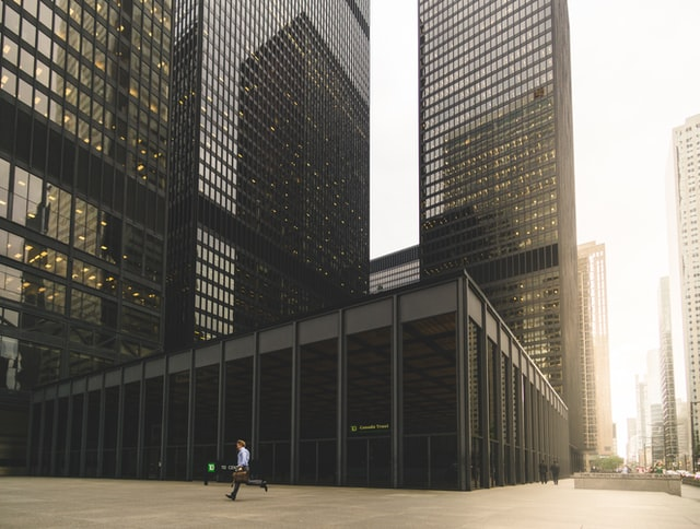 Tall buildings demonstrates financial service salaries