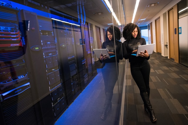 Woman practising her technology consulting skills
